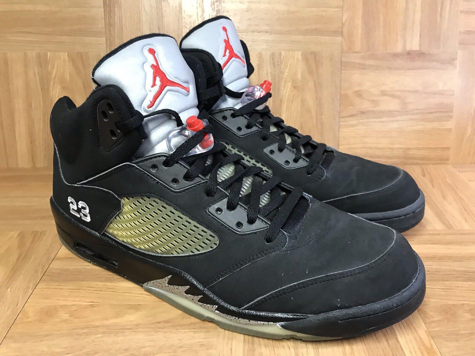 RARE? Nike Air Jordan 5 V Retro Nero Metallic Silver Fire Red Sz 14 136027-004