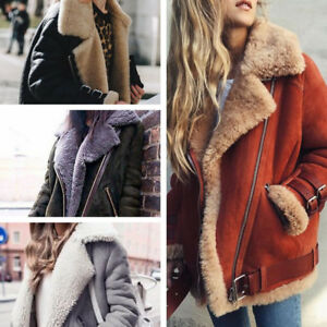 Womens Warm Fleece Fur Coat Winter Lapel Biker Aviator Motor Jacket Outwear US
