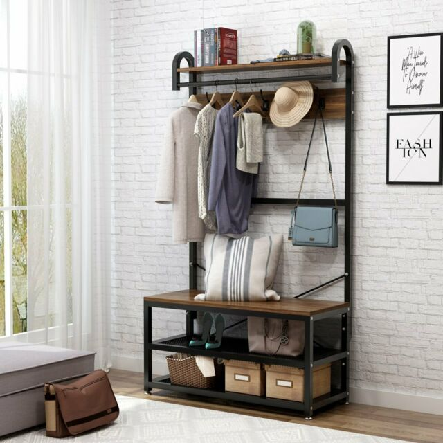 Excellent Hall Tree Storage Bench Entry Stand Hat Coat Rack With Shelf 5 Hooks Organizer Andrewgaddart Wooden Chair Designs For Living Room Andrewgaddartcom