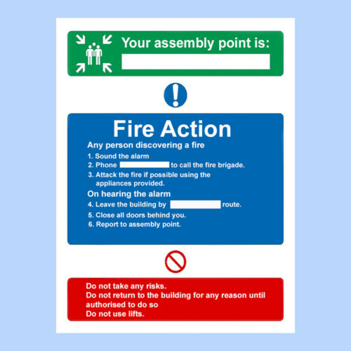 Fire Exit Fire Action Assembly Point Sign Sticker A5 Premium Quality Sign