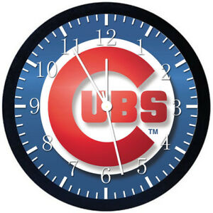 Image is loading Chicago-Cubs-Black-Frame-Wall-Clock-Nice-For-