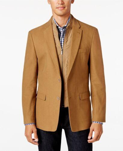 Tommy Hilfiger Mens Slim-Fit Sport Coat with Removable Vest Insert Camel Sz R 44