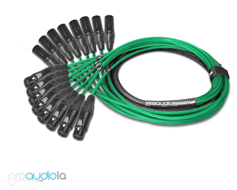 Premium Mogami 2932 8 Channel Snake   Neutrik Gold XLR-F XLR-M   Grün 5 Feet