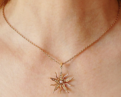 Stunning Antique Victorian 9ct Gold Diamond & Pearl set Floral Pendant on Chain
