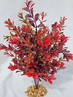 Artificial Aquarium Large 10 Burgundy Red Boxwood Plastic Plant W/ Stone Base