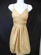 BCBG Paris Gold Spaghetti Strap Bubble Hem Evening Dress Size