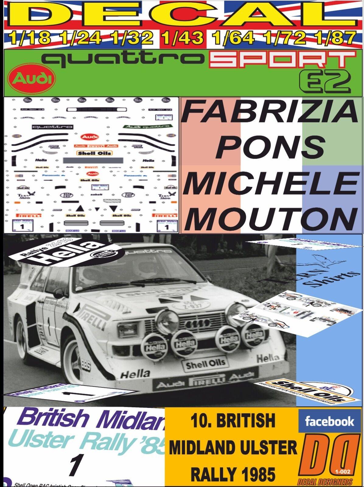 DECAL AUDI QUATTRO SPORT E2 MICHELLE MOUTON rally ULSTER 1985 DnF (06)