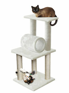 33-White-Pet-Cat-Tree-Play-Tower-Bed-Furniture-Scratch-Post-Tunnel-Toy-Mouse