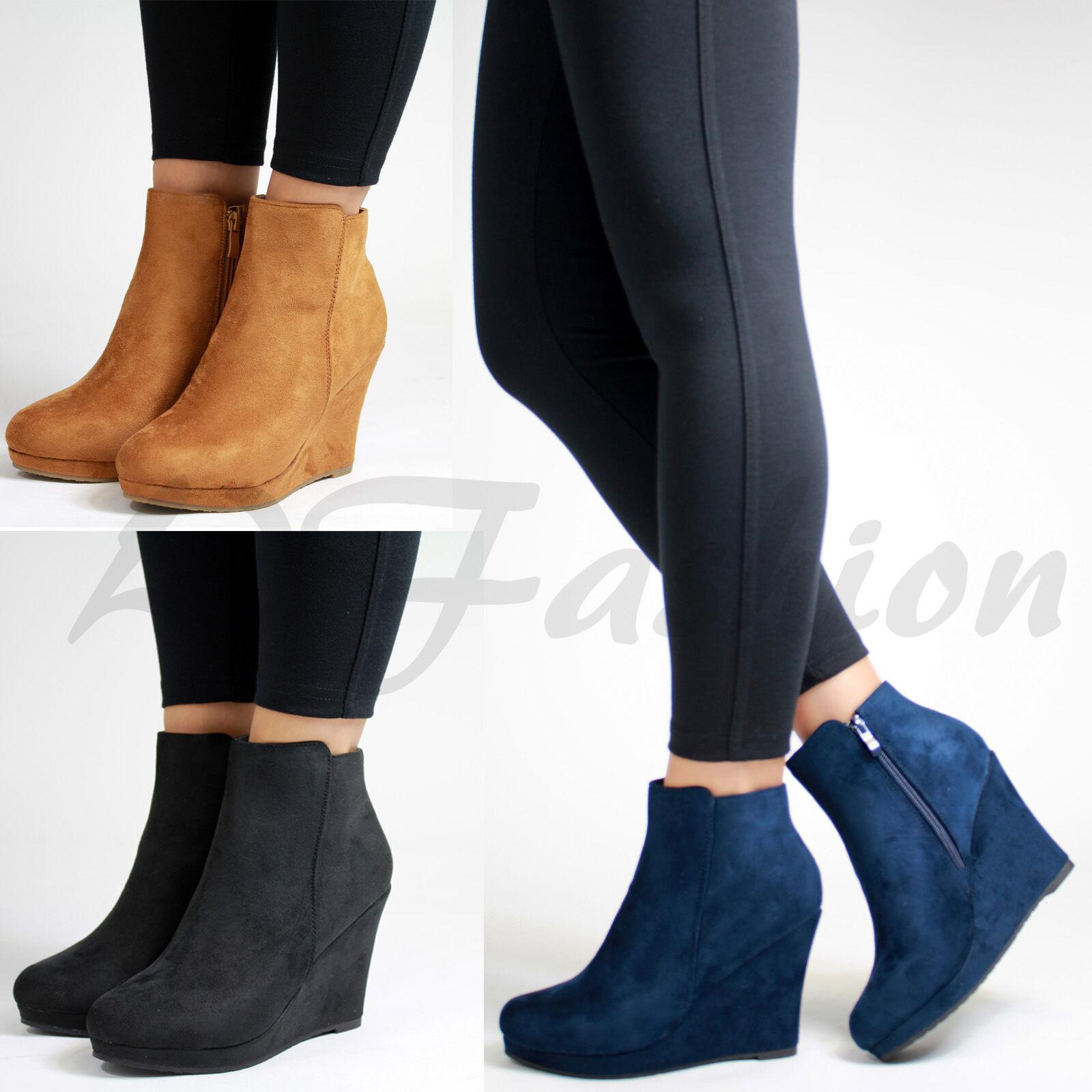 suède - nouvelles femmes à talon plat dissimulé wedge, wedge, wedge, chaussures de femmes bottines 28ca30