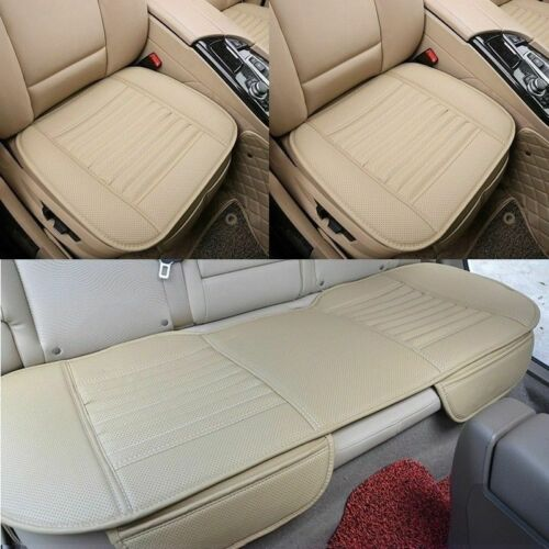 Universal Car Front Rear Seat Cover Bamboo PU Leather Pad Chair Cushion Set