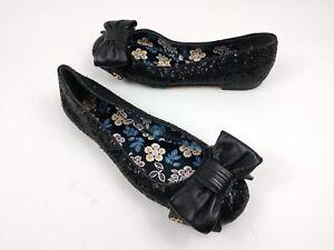 03ac3b511d8c Tory Burch Divine Bow Driver Ballet Flat Black Sequins Women s Size ...
