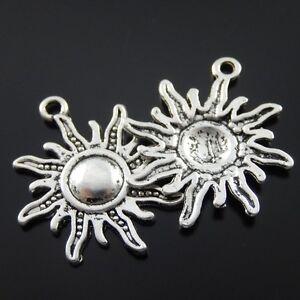 24pcs-Antique-Style-Silver-Tone-Alloy-Round-Fire-Sun-Pendant-Charms-23mm