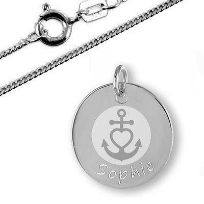 Glaube Liebe Hoffnung Namenskette Silberschmuck mit Gravur Taufkette