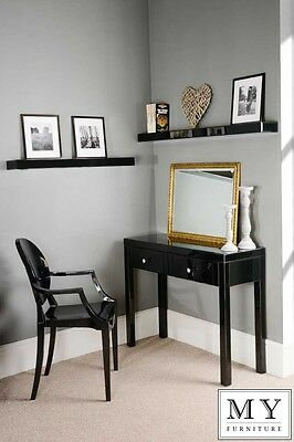 Chelsea Black Glass high gloss Dressing Console table 4 legs (ID: 17393)