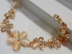 Gorgeous-Rose-Gold-Plated-Pink-Cats-Eye-Opal-Flower-Bracelet-Free-Gift-Bag