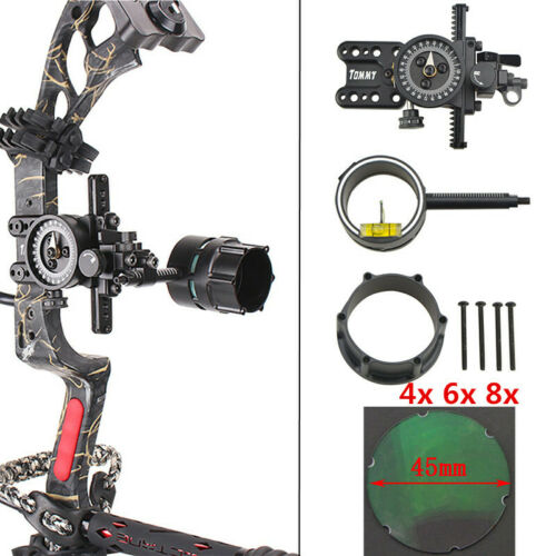 Compound Bow 1 Pin 4x 6x 8x Sight Micro Adjustable Pointer Adaptor Scope Sight