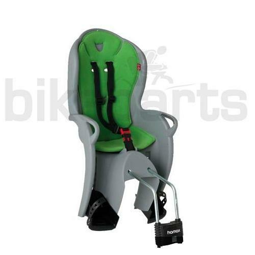 Hamax Kiss Kindersitz grau/grün Fahrradkindersitz Befestigung Rahmenrohr