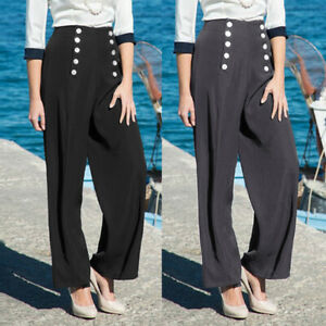 Women-Solid-High-Waist-Flare-Wide-Leg-Chic-Trousers-Bell-Bottom-Buttons-OL-Pants