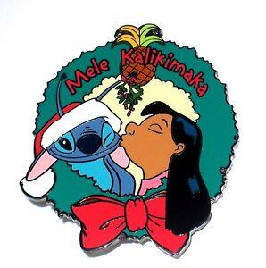 Details About Le Disney Pin Lilo Stitch Merry Christmas Mele Kalikimaka Wreath Santa Hat Kiss