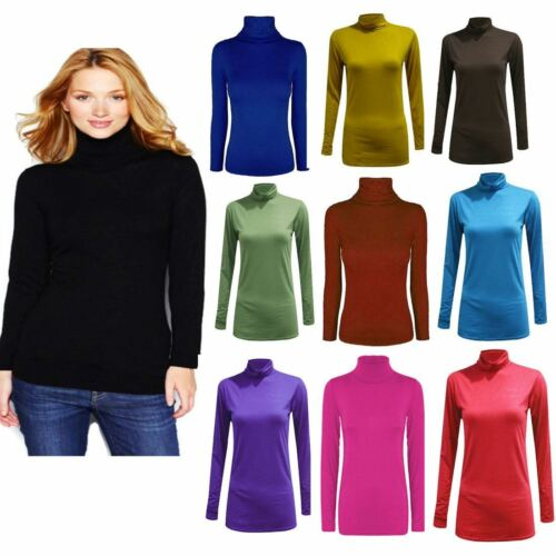 Womens Polo Turtle Neck Jumper Top Ladies Full Sleeve Stretch Jumper Top