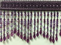 4.5 Crystal Beaded Fringe Trim Purple/lilac Tf-58/29-27 (sold By The Yard)