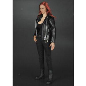 1//6 Female Clothes Black Pants Vest PU Leather Jacket Suit for 12inch Figure