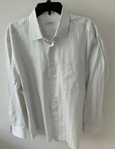 Ermenegildo-Zegna-Mens-Striped-Button-Down-Dress-Shirt-White-Size-17-1-2-44