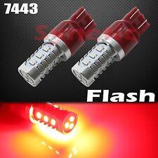 2x 7443 Bright Red Flash Strobe Rear Safe Alert Brake Tail Stop LED Lights Bulbs
