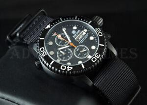 DEEP-BLUE-40mm-BLACK-PVD-Diver-1000-Chronograph-SAPPHIRE-Watch-w-Extra-Strap
