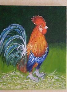Coq-aux-couleurs-chatoyantes-Peinture-a-l-039-huile-sur-toile-de-lin