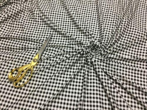 NEW*Premium Quality Stretch Viscose Jersey Monochrome Gingham Print Dress Fabric