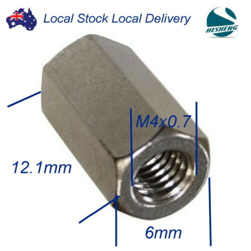 Qty 2 Hex Rod Coupling Nut M4 316 Marine Stainless Steel Coupler Connector 4mm