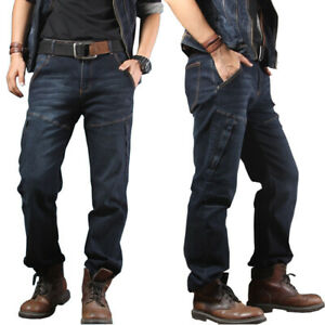 Mens-Jeans-Denim-Pants-Casual-Zipper-Pockets-Combat-Work-Pants-Tactical-Trousers