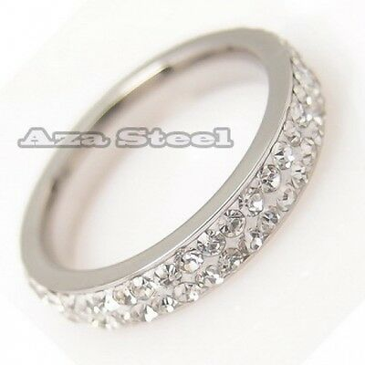 Women' 4mm CZs Stainless Steel Wedding Engagemet Band Eternity Ring Size 5,6,7,8