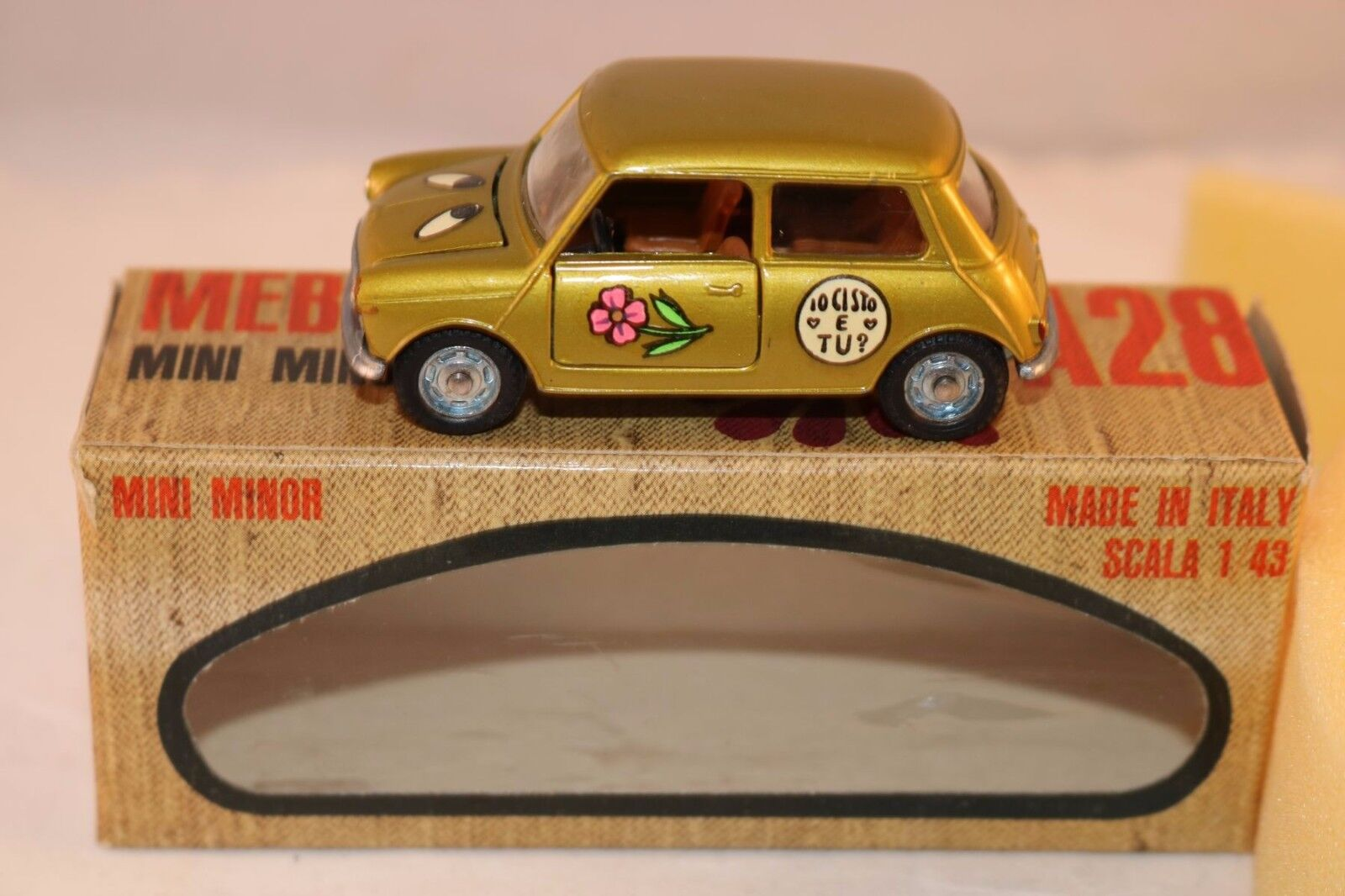 Mebetoys A28 A 28 Mini Minor  Flower Power  lime gold MIB raro very scarce