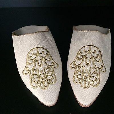 BABOUCHE Marocaine Frau Leder Schuh flach Slipper bestickt Pantoffel weiß 2