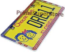 USA AMERICAN FLAG CHROME METAL LICENSE PLATE FRAME CAR/TRUCK TAG COVER/HOLDER US