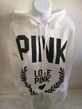 Victoria's Secret LOVE PINK Short Hoodie/Hooded Sweatshirt - White - Size L