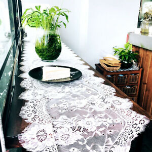 Wedding-White-Lace-Table-Runner-Boho-Tablecloth-Cover-Chair-Sash-Party-Decors-UK