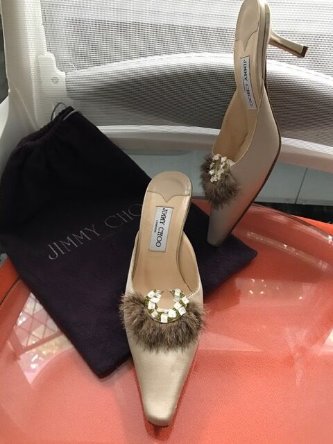 Jimmy choo  scarpe MULES Party Briddal matrimonio Limited in Satin seta Feather UK5  miglior prezzo