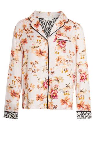 Ladies Womens Viscose Pyjamas Pink Floral Long Sleeved Pajamas PJ Collar RRP £28