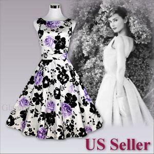 Image Is Loading Women Elegant 50s Audrey Hepburn Party Prom Rockabilly