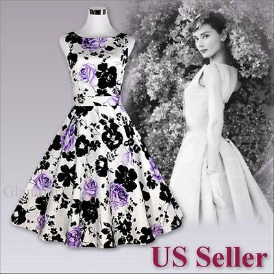 Women Elegant 50s Audrey Hepburn Party Prom Rockabilly Swing Vintage Dress