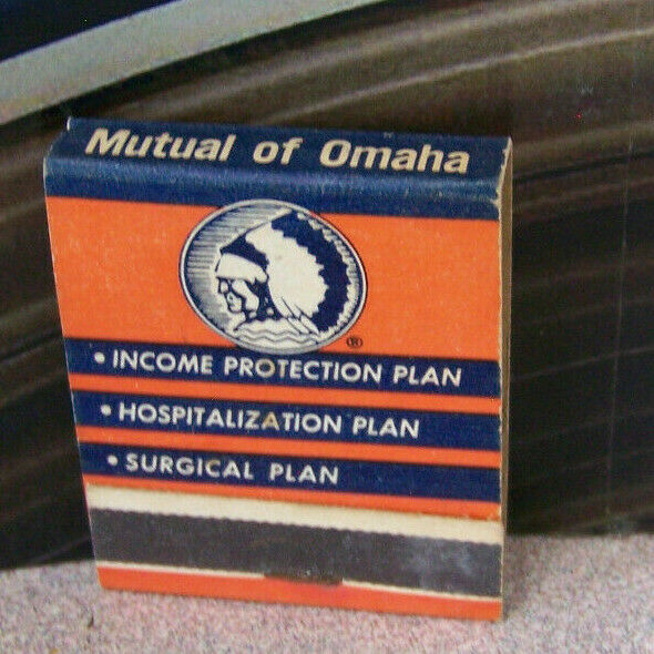 Vintage Matchbook K6 Mutual Of Omaha Indian Native