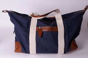 New Mark And Graham Canvas And Leather Travel Weekender Bag S T Monogram Issue Ebay