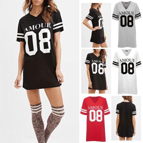 Femme Amour 08 Baseball Varsity Sport rayures à manches courtes T-shirt Top