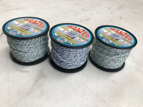 3 x POLYESTER ROPE PRESTRETCHED BRAIDED HIGH PERFORMANCE 2mm Dia, 30m each x 3