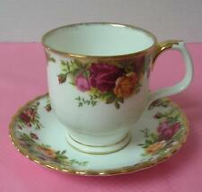 OLD COUNTRY ROSES Royal Albert FOOTED COFFEE TEA MUG & SAUCER China Chocolate