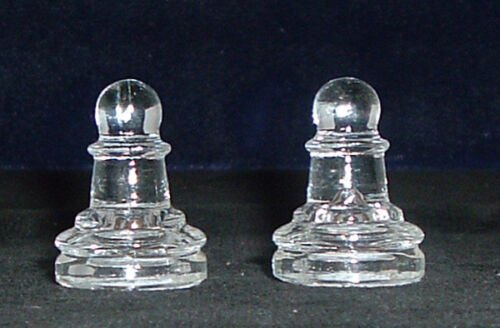 """Glass Chess Replacement Piece Clear Two Pawns 1 1//4/"""""""