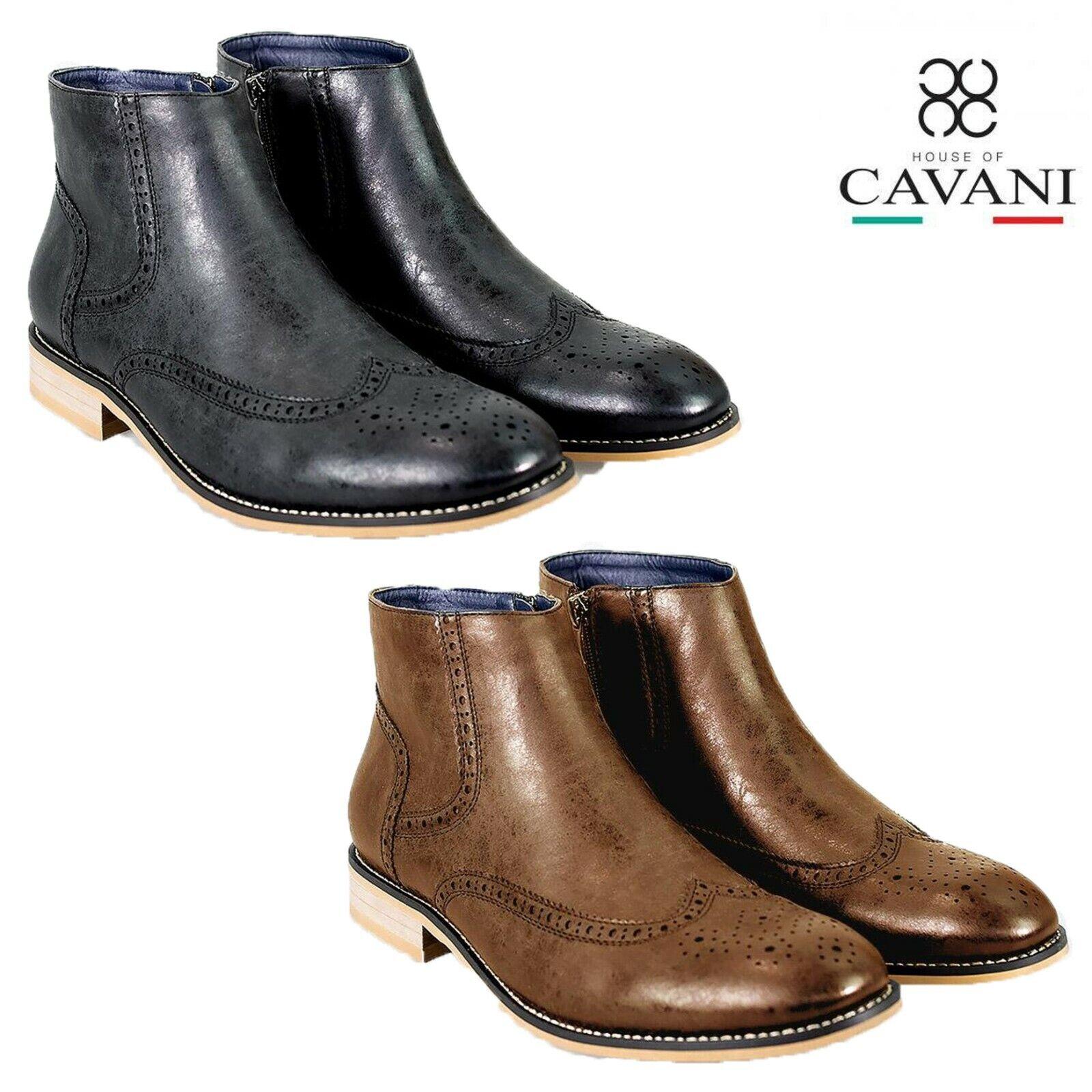 Mens Cavani Chelsea Stiefel Brogue Patterning schuhe Smart Casual Footwear Zip Up